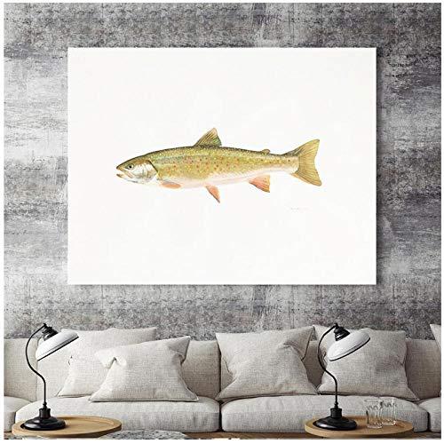 MULMF Hoofddecoratie print canvas muurkunst afbeelding poster horizontale schilderijen realistische rechthoek vis vingerafdrukken Sardine- 40X60cm zonder lijst