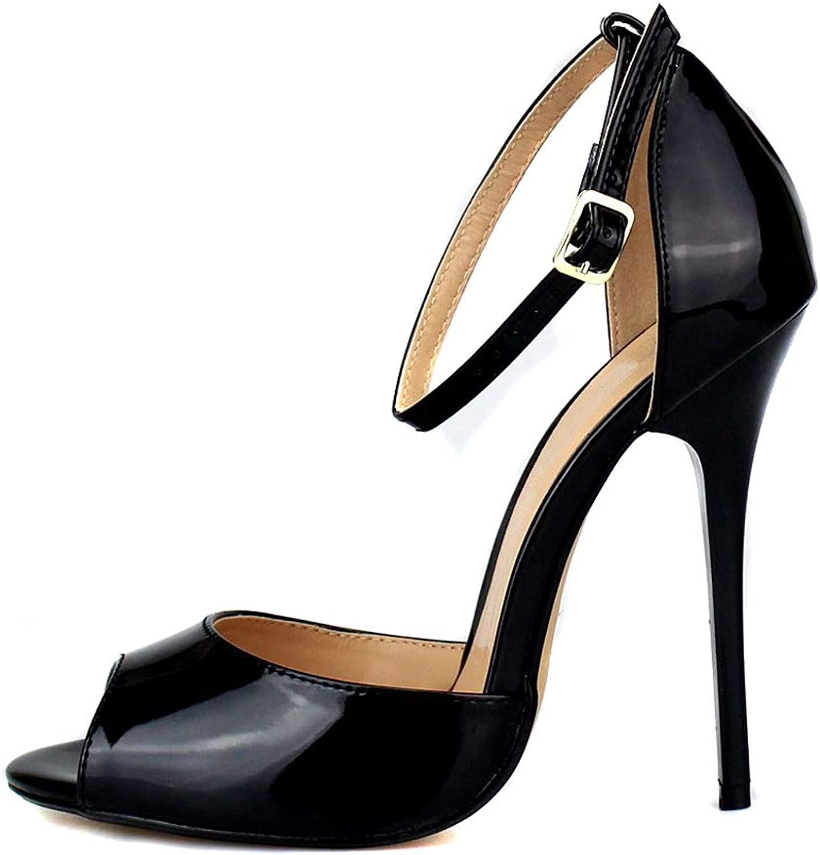 MAIERNISI JESSI Unisex Men's Women's Peep Toe Stiletto High Heels Ankle Strap Sandals