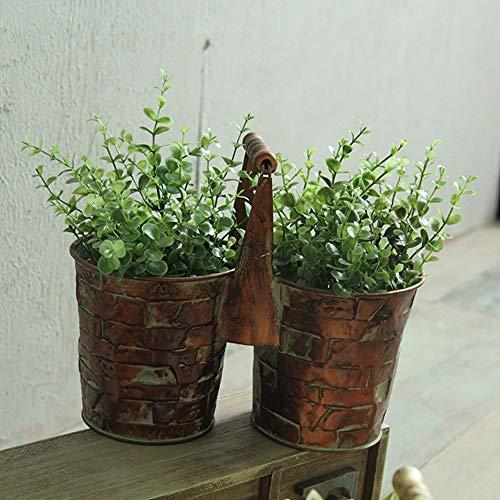 Bcaer Retro Metal artigianato Ferro Bucket Flower Pot Balcone Giardino Carne Vaso da fiori vaso da giardino decorazione in metallo Ferro Vaso da fiori, Basket Planter, può essere installato su Piante