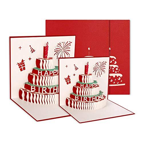 Husmeu 2er 3D Pop-up Grußkarten Geburtstagskarte mit Roter Kerze 3 Schicht Kuchen Design Handgefertigt Geburtstagskarte mit Umschlag für Familie, Freunde, Kollegen, Kinder, Eltern, Geliebte