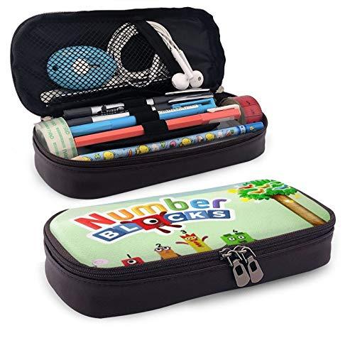 Number-Blocks - Estuche para lápices, con asa grande, organizador de escritorio, caja de almacenamiento, para maquillaje, cosméticos, doble cremallera, para escuela, oficina, estudiantes, adolescentes