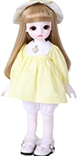 BJD Doll Ball Mechanical Jointed SD Doll DIY Toys with Full Set of Clothes Wig Shoes Accessories 1/6 26cm 10Inch