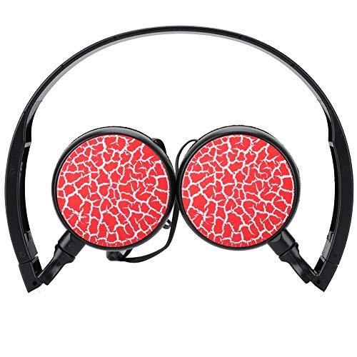 Kabelgebonden opvouwbare headset voor kinderen, met hoogwaardig geluid, zachte headset, ruisonderdrukking via hoofdtelefoon, compatibel met telefoon, pc, Mac, laptop, rood