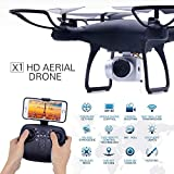 RC Drone with 720P HD Adjustable Camera Live Video FPV for Adults and Beginners 40mins Flight Time Drone Quadcopter,APP Controlled Altitude Hold/Long Flight Time Helicopter Toy Bonus Battery (Black)
