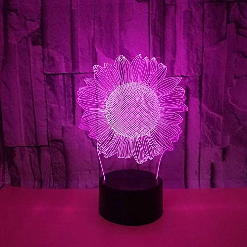 ilusión 3D Luz Nocturna Infantil Sunflower stick para hombres, mujeres, niños, niñas, regalo Con interfaz USB, cambio de color colorido