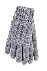 Heat Holders - Women's Thermal Heat Weaver Cable Knit 2.3 Tog Gloves - S/M (Medium/Large, Light Grey)