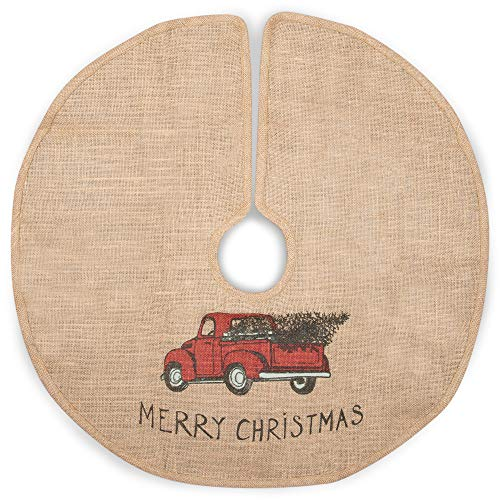 The Country House Christmas Red Truck Burlap Tree Skirt (24')
