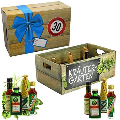 CREOFANT Kräutergarten mit Geburtstagszahl 30. Geburtstag · Witzige Geschenkidee für Männer und Frauen mit Alkohol · 8 x Kräuter-Likör · Hochwertige Geschenkbox · Geburtstagsgeschenk für Männer