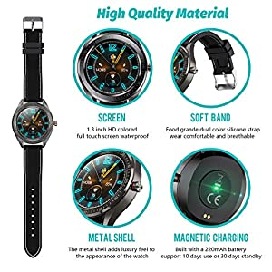 Smart Watch for Android and iOS Phone,Fitnees Tracker Step Counter with 1.3″ Full Touch Screen, Heart Rate Sleep Monitor Tracker IP68 Waterproof Smartwatch for Men Women