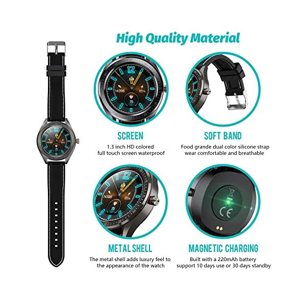 "Smart Watch for Android and iOS Phone,Fitnees Tracker Step Counter with 1.3"" Full Touch Screen, Heart Rate Sleep Monitor Tracker IP68 Waterproof Smartwatch for Men Women"