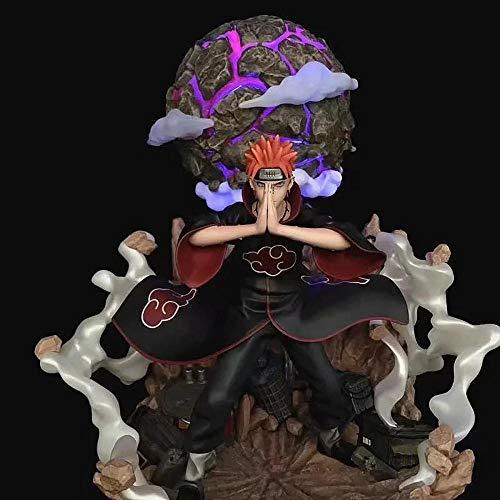 MDDCER Naruto Akatsuki Luminous Schmerz Szene Action-Figur Zeichentrickfigur Modell-Dekoration Statue Weihnachten Geburtstagsgeschenk Kinder Spielzeug Pain -40CM
