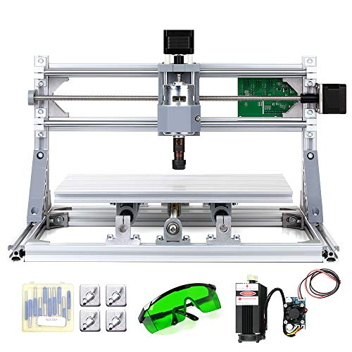 KKmoon 300 x 180 x 45 mm DIY Router Kit 2-en-1 Máquina de grabado láser GRBL Control 3 Ejes para PCB PVC Plástico Acrílico Talla de madera Máquina de grabado de fresado con boquilla ER11