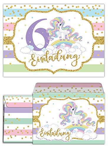 Junaversum 12 Einladungskarten incl. 12 Umschläge zum 6. Kindergeburtstag Mädchen Einhorn Regenbogen Einladungen sechste Geburtstag