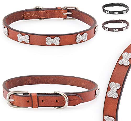 Pear - Tannery - Luxury Line: Hundehalsband Aus Weichem Vollrindleder, Versehen Mit Einer Knochen-Kristall-Verzierung Mittig, XXS 24-34cm, Cognac