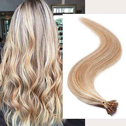 Extension Cheveux Naturel Pose a Froid I-Tip Fixé par Micro Anneaux Ring - 100% Vrai Cheveux Humain 100 Mèches - #18+613 SABLE BLOND MECHE BLOND CLAIR - 22 Pouce(55CM)