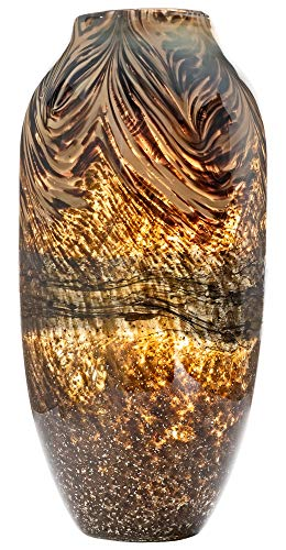 Large Handmade & Mouthblown Brown & Gold Glass Decorative Flower Vase for Home Decor – Centrepiece or Floor – 14.5 inch/37cm Tall – Living Room, Dining Table, Statement, Hallway, Office, Decoration.