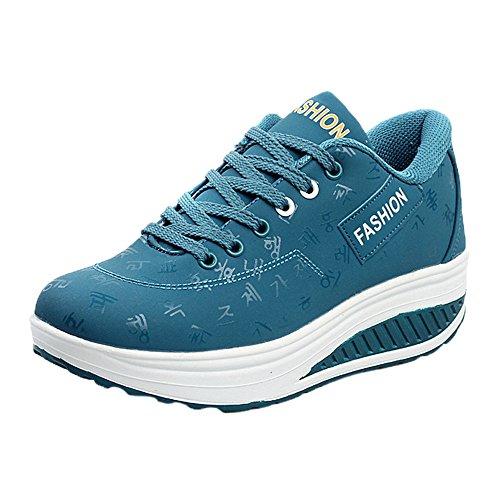 Damen Freizeitschuh Sneaker Schnürhalbschuhe Schnürung Schuhe Leichte Modische Turnschuhe Freizeit Atmungsaktiv Sportlicher Trainingsschuh Sportschuhe Laufschuhe(1-Blau/Blue,41)