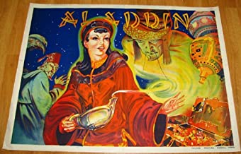 Vintage Art Deco 1930s Aladdin Pin-Up Orientalist Theater Poster Stone Lithography