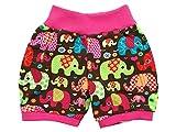 Kleine Könige Kurze Pumphose Baby Mädchen Shorts · Modell Elefantenparty pink · Ökotex 100 Zertifiziert · Größe 86/92