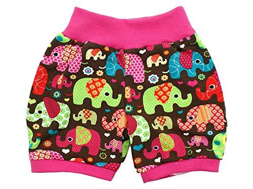 Kleine koningen korte pompbroek baby meisjes shorts · model olifantenparty roze · Ökotex 100 gecertificeerd · maten 50-152