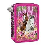 Pferde Horse Horses - 26 tlg. doppelte Federtasche Kinder Federmappe Federmäppchen rosa 20x12,5x4 cm gefüllt