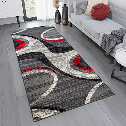 Tapiso Dream Läufer Flur Teppich Kurzflor Modern Brücke Grau Creme Rot Streifen Wellen Kreise Muster Schlafzimmer Wohnzimmer ÖKOTEX 80 x 200 cm