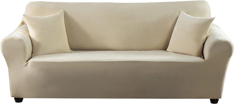 Travan Stretch Sofa Cover Slipcove unisex Velvet half Couch Plush