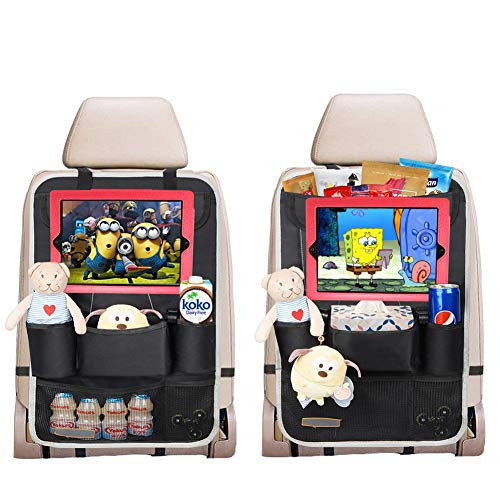 2 Pack Organizadores para Asientos de coches, Kick Mats de Coche Universal Multi-Bolsillos Organizanizador, para ipad Impermeable Fácil de limpiar, Negro