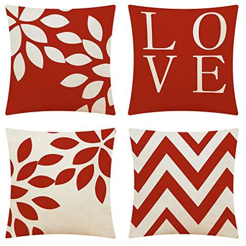 ZYBC - Set di 4 federe per cuscino, motivo geometrico, in cotone e lino, con cerniera invisibile, 45 x 45 cm, per soggiorno, divano, sedia