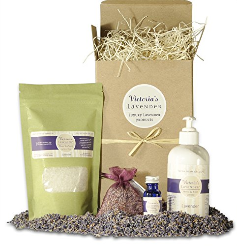 Victoria's Lavender Gift Basket for Women | Natural Lavender Spa Products for Stress Relief | Pure Lavender Essential Oil | Bath Salts for Relaxation | Luxurious Lavender Lotion | Made in USA