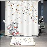 Baisheng Waterproof Mold Proof Resistant Bad Vorhang Waschbar Duschvorhang Polyester Stoff 3D Mehltau Beweis Vorhang mit Haken (Weißes Kaninchen & Schwein-39 * 70Inch/100 * 180cm)