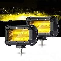 フォグランプ LED 5インチ SAMLIGHT 高輝度4Dレンズ 72w 作業灯 イエロー 12-24v 兼用 トラック 重機機械 ガレージ ライト デッキライト 集魚灯 前照灯 Suv Atv Utv 2個セット 1年保証