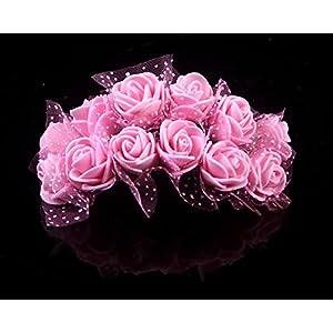 Sealike 144 Pcs Mini Artificial Rose Flower Wedding Bouquet Flower Bouquets Home Party Decor with Stylus
