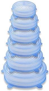 LPxdywlk 6 Unids Silicona Elástico Refrigerador Alimentos Recipiente Fresco Cubierta Protector Tapa Sellada BPA Libre Ajuste Diferente Forma de Contenedores Blue