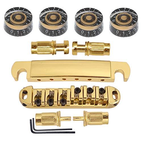 4pcs Potiknopf Drehzahlregler mit Gold Bridge Roller Sattel Tune-O-Matic Brücke für Les Paul Gitarre