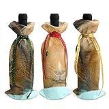 Acconciatura Rock Porcellino d'India 3 Pezzi Copri Bottiglia di Vino Natalizio Sacchetti di Vino Rosso per Le Vacanze Sacchetti Regalo di Vino Sacchetti di Champagne Decorazioni Natalizie per Feste