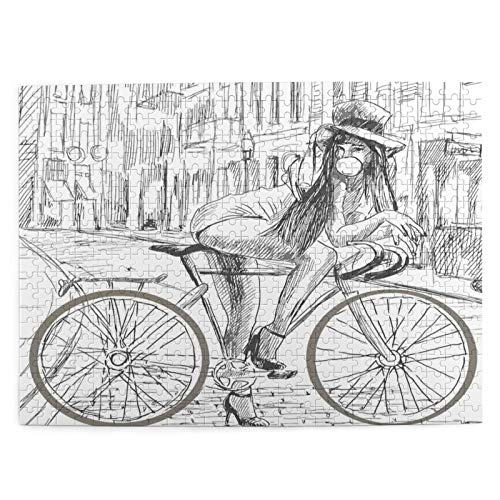 Rompecabezas de 500 Piezas,Indignante jovencita masticando Chicle en su Bicicleta en la,Rompecabezas de imágenes para niños, Adolescentes, Adultos,Divertido Juego de Alivio del estrés para Regalo