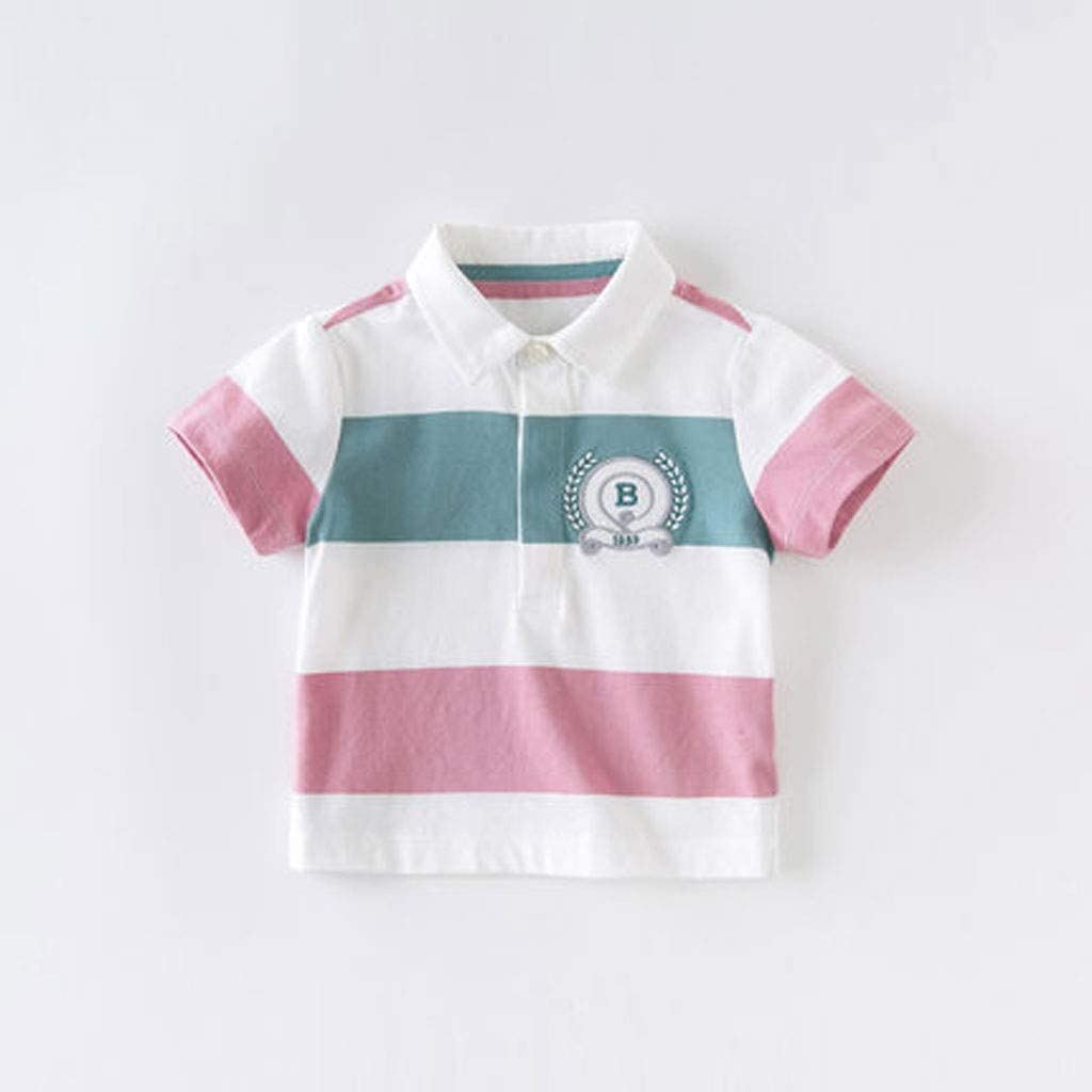 Summer New Boy Short-Sleeved Baby Kid's Clothing Three-Color Striped Cotton Short-Sleeved T-Shirt Classic Lapel with Split Hem for Easy Movement Soft (Color : A, Size : 90CM)