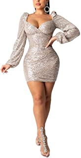 Ophestin Womens Sparkly Sequin Dress Sexy V Neck Long Sleeve Mini Party Dresses