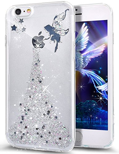 Cover iPhone SE,Cover iPhone 5S,Cover iPhone 5,Bling scintillio della scintilla Stelle della ragazza Angelo Trasparente Silicone Gel Case Cover Crystal Clear Custodia Cover per iPhone SE/5S/5,Argento