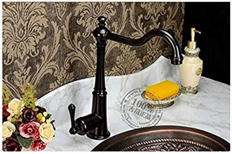 Vintage überzogene Wasserhahn Edelstahl-Waschbecken-Becken-Dunkle Bronzefarbe-Draht-Zeichnungs-Küchen-Hahn-Heies Und Kaltes Kupfer