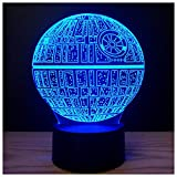 3D Illusion Platform Night Lights Touch Switch 7 Color Change USB Power LED Desk Lamp for Home Decorations or Holiday Gifts (Death Star)