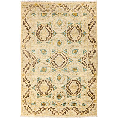 Solo Rugs Suzani Capela One of a Kind Hand Knotted Area Rug, Beige with Purple Flowers, 4' 1