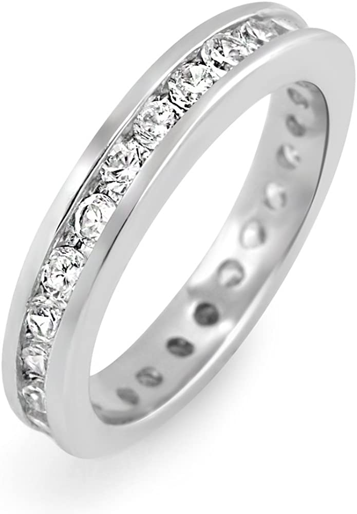 925 Sterling Silver Cubic Zirconia Sales for sale CZ mm Stackable Ba Max 86% OFF Eternity 3