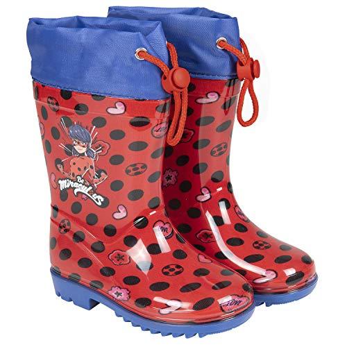 Botas de Agua Rojos Lady Bug Niña - Botines Impermeables Miraculous Fantasía de Lunares - Suela Antideslizante y Cierre con Cordón - Detalles Azul - PVC - Perletti (Rojo, 32/33 EU)