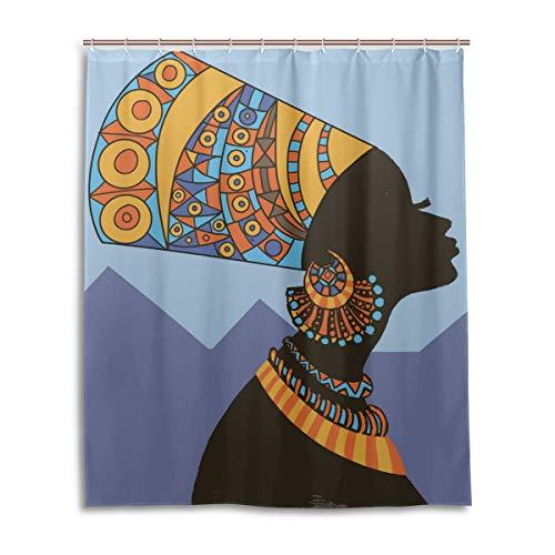 JSTEL Decor Rideau de Douche Motif Femme égyptien 100% Polyester Tissu 152 x 183 cm