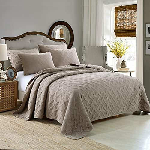 LTLJX Colcha 230x250cm Colcha Bouti Colcha de 100% Algodón para Dormitorio Manta Acolchada Super Suave y cómoda Adecuado para la Cama Matrimonial Jacquard Gris