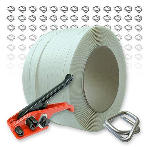 Kompositband Umreifungsset19 mm, 500 m, Kern 200 mm, Reißkraft 640 kg, dazu Bandspanner + 150 verzinkte Drahtverschlussklemmen