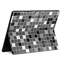 igsticker Surface Pro X 専用スキンシール サーフェス プロ エックス ノートブック ノートパソコン カバー ケース フィルム ステッカー アクセサリー 保護 000480 ユニーク タイル 黒