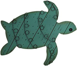 Zeckos Distressed Finish Wood and Metal Sea Turtle Wall Hanging